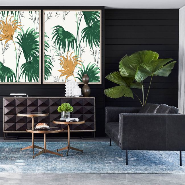 NEW Paule Marrot, Green and Yellow Palm Leaves 1 & 2