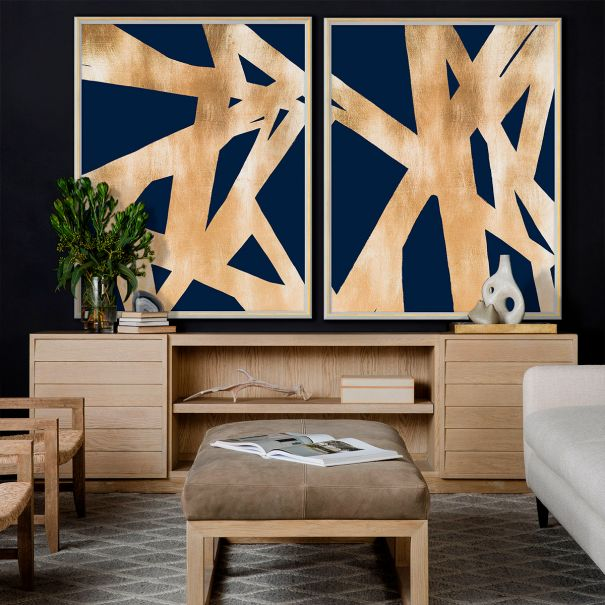 Blue and Gold Abstract, Diptych