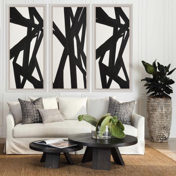 Black & White Abstract Painting, Panels