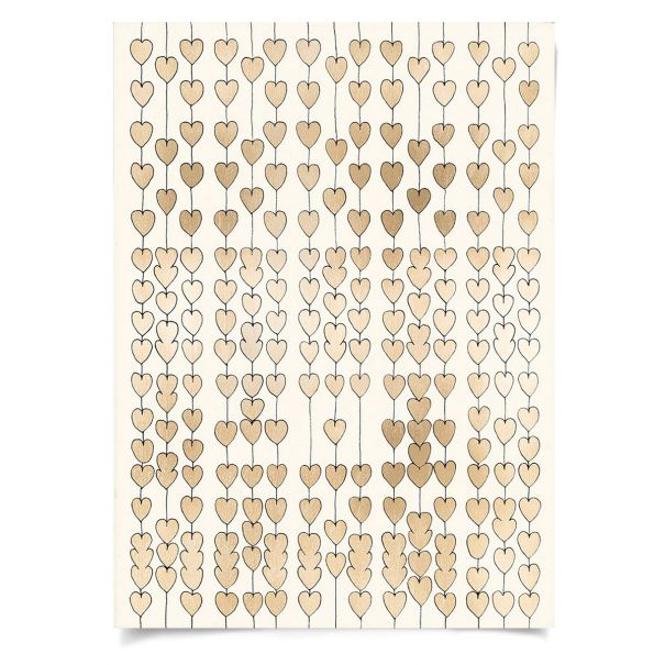 Cartier Heart Strings, Gold Leaf: Unframed Ready to Ship 31x43""