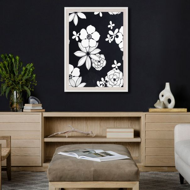 Modern Paradise, Black and White Modern Flowers