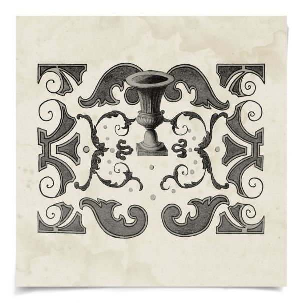 Parterre Maze Grey 1: Unframed Ready to Ship 14x14""
