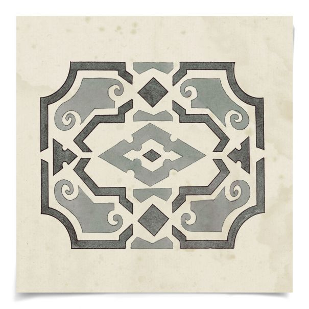 Parterre Maze Grey 4: Unframed Ready to Ship 14x14""