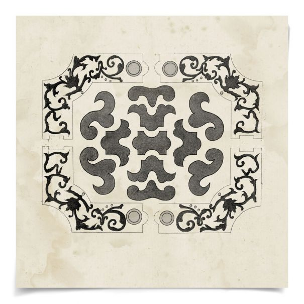 Parterre Maze Grey 7: Unframed Ready to Ship 14x14""