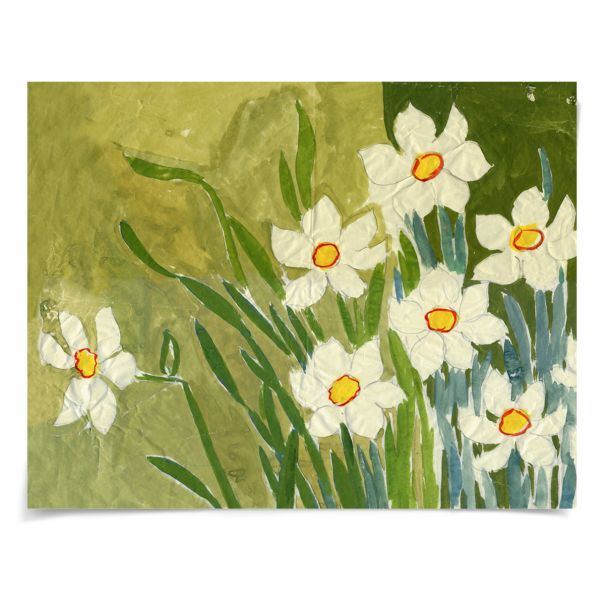 Paule Marrot Fleur Blanche: Unframed Ready to Ship 54x42""