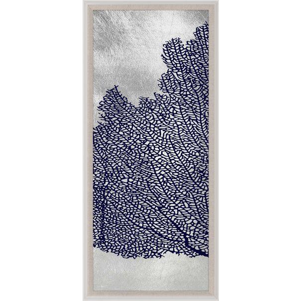 Seafan Triptych, Navy & Silver 1