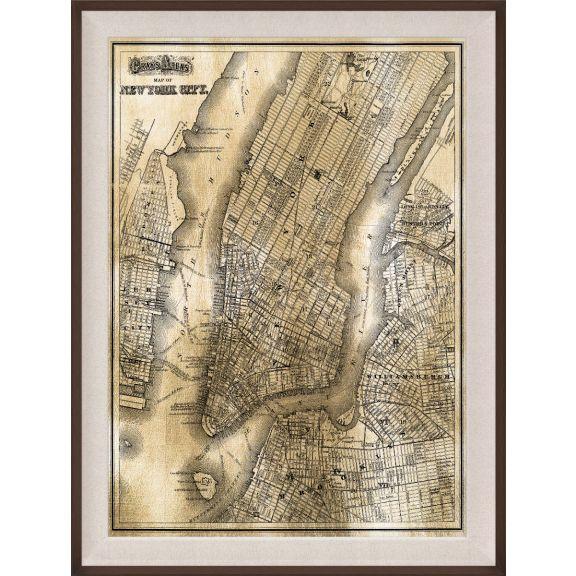 NY Map, Gold