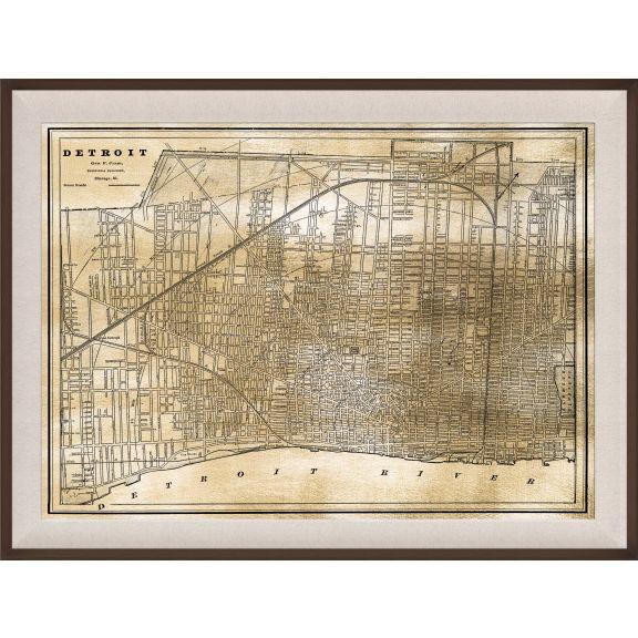 Detroit Map, Gold