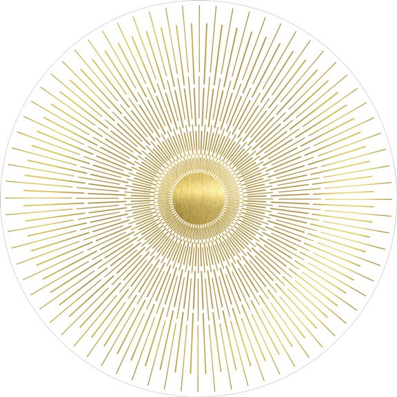 Gold Deco Rays White