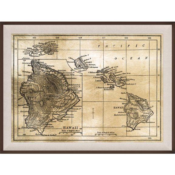Hawaii Map, Gold