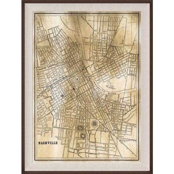 Nashville Map, Gold