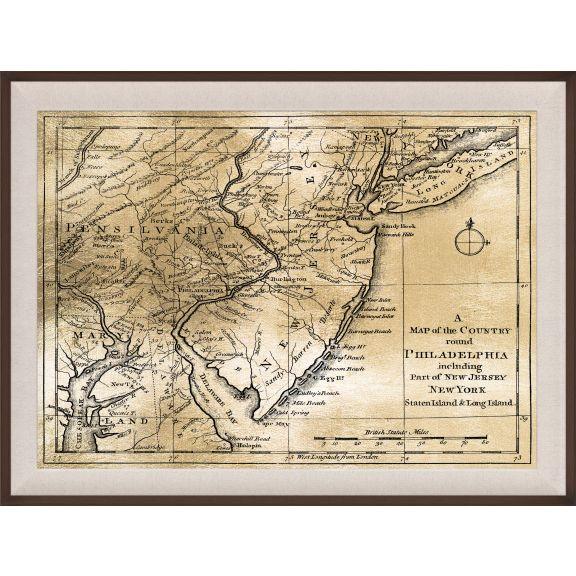 Philadelphia Map, Gold