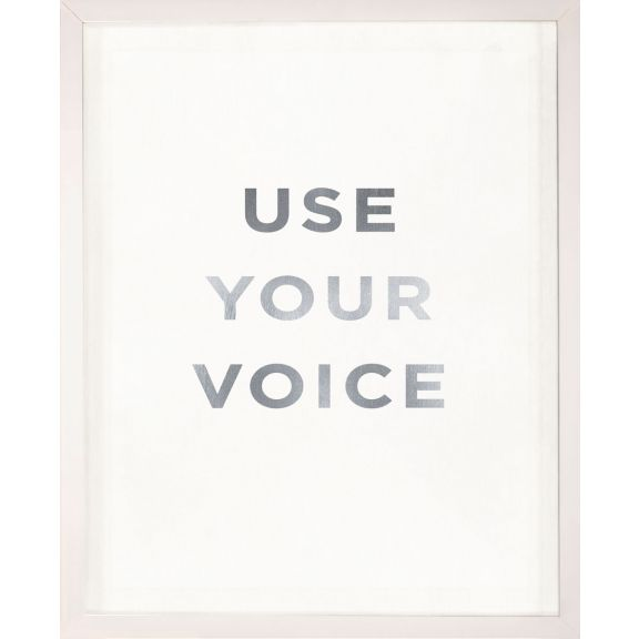 """Use Your Voice"" Silver Leaf Quote"