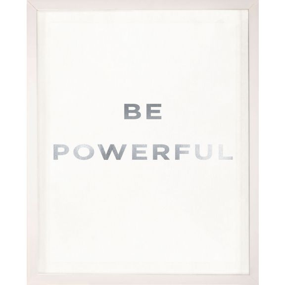 """Be Powerful"" Silver Leaf Quote"