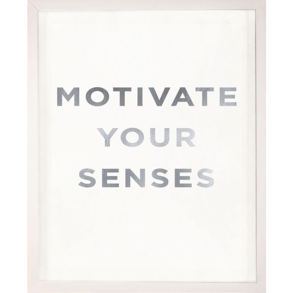 """Motivate Your Senses"" Silver Leaf Quote"