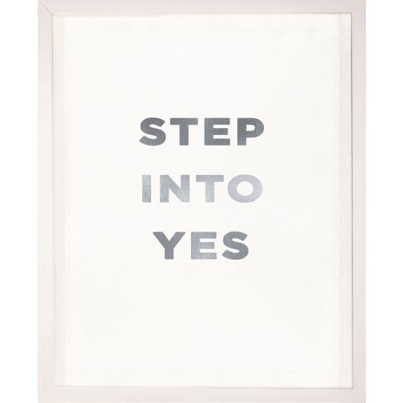 """Step Into Yes"" Silver Leaf Quote"